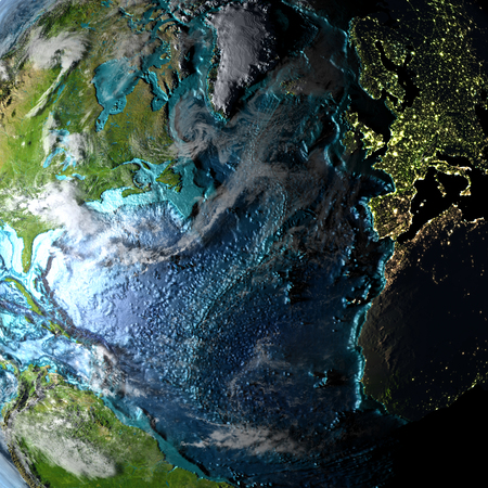 Northern Hemisphere on physical map with evening light. 3D illustration with detailed surface and visible city lights.