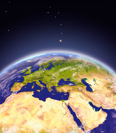 Satellite view of EMEA region on planet Earth. 3D illustration with detailed planet surface. Elements of this image furnished by NASA.