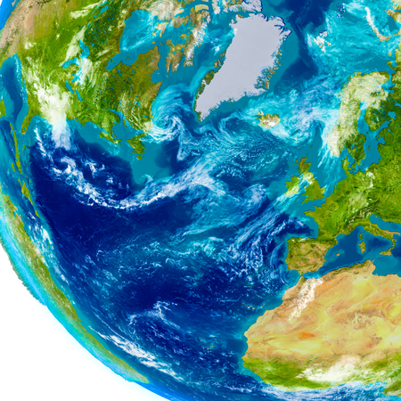 detailed image: Europe and North America on physical model of Earth. 3D illustration with detailed planet surface. Elements of this image furnished by NASA.