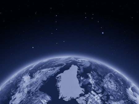 Greenland at night on planet Earth from space. 3D illustration with detailed planet surface. Elements of this image furnished by NASA.