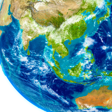 Southeast Asia on physical model of Earth. 3D illustration with detailed planet surface. Elements of this image furnished by NASA. Stock Photo