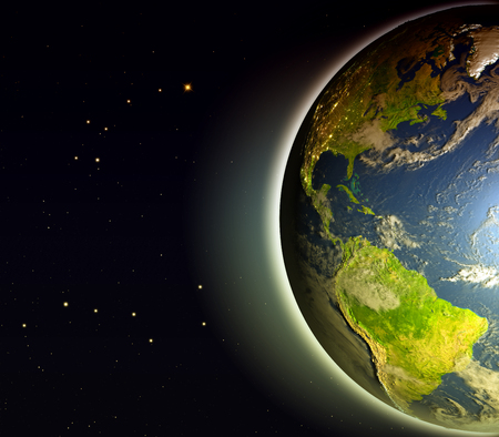 Americas from space on Earth. 3D illustration with detailed planet surface. Stock Photo