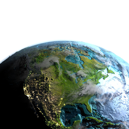 continente americano: North America on model of planet Earth at dawn. 3D illustration with white background.