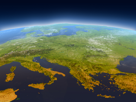 Adriatic sea region from Earths orbit in space. 3D illustration with detailed planet surface, mountains and atmosphere. Stock Photo
