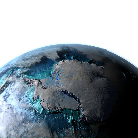 antarctic: Antarctic on planet Earth with evening light. 3D illustration with detailed planet surface, atmosphere and city lights.