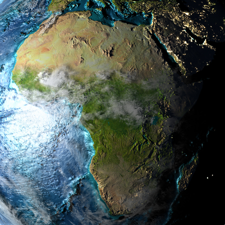 Africa on physical map with evening light. 3D illustration with detailed surface and visible city lights.