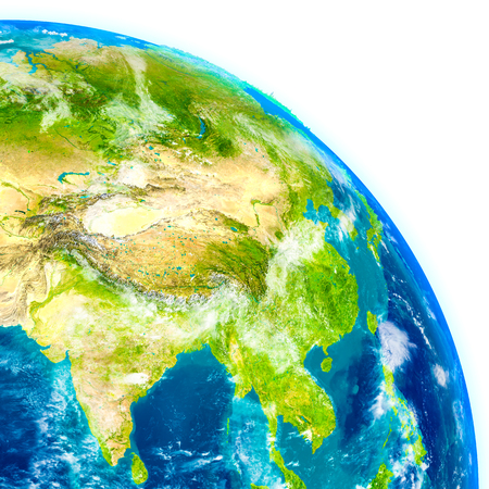 Southeast Asia on physical model of Earth. 3D illustration with detailed planet surface. Stock Photo
