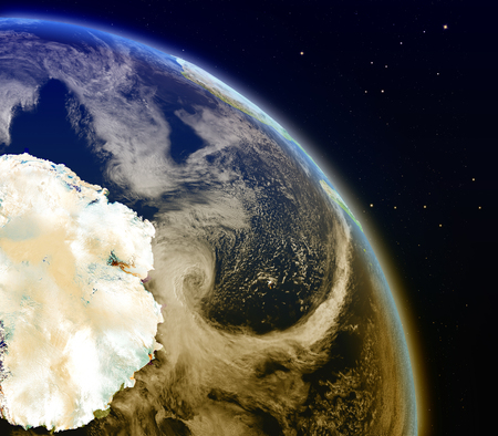 antarctic: Satellite view of Antarctic on planet Earth. 3D illustration with detailed planet surface.