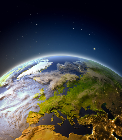 Europe from Earths orbit. 3D illustration with detailed planet surface, atmosphere and city lights.