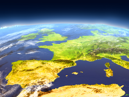 Iberia from Earths orbit in space. 3D illustration with detailed planet surface, mountains and atmosphere.