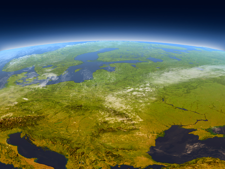 Eastern Europe from Earths orbit in space. 3D illustration with detailed planet surface, mountains and atmosphere.