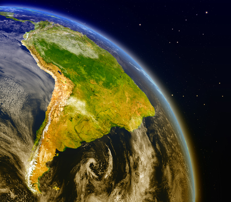 continente americano: Satellite view of South America on planet Earth. 3D illustration with detailed planet surface.
