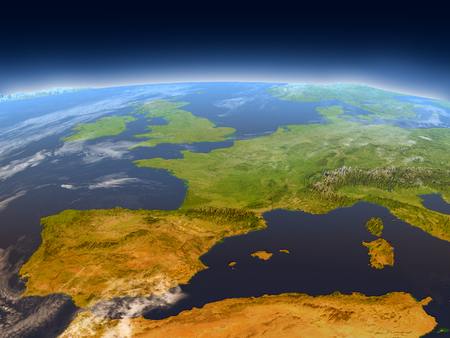 Iberia from Earth's orbit in space. 3D illustration with detailed planet surface, mountains and atmosphere. Elements of this image furnished by NASA. Reklamní fotografie - 76767170