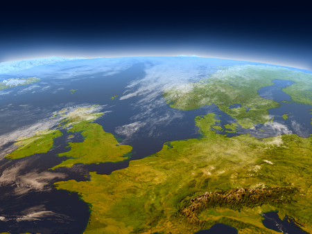 Western Europe from Earth's orbit in space. 3D illustration with detailed planet surface, mountains and atmosphere. Stock Photo