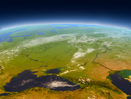 armenia: Caucasus region from Earths orbit in space. 3D illustration with detailed planet surface, mountains and atmosphere.