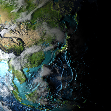 East Asia on physical map with evening light. 3D illustration with detailed surface and visible city lights. Stock Photo