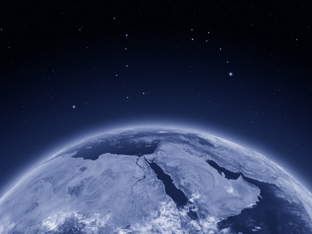 Middle East at night on planet Earth from space. 3D illustration with detailed planet surface. Stock Photo