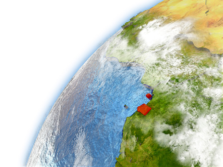 Equatorial Guinea highlighted on model of planet Earth. 3D illustration with reflective waters and clouds in the atmosphere. Stock Photo