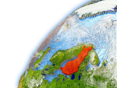 Finland highlighted on model of planet Earth. 3D illustration with reflective waters and clouds in the atmosphere.