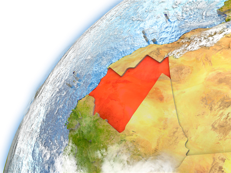 Mauritania highlighted on model of planet Earth. 3D illustration with reflective waters and clouds in the atmosphere.