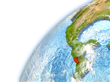 El Salvador highlighted on model of planet Earth. 3D illustration with reflective waters and clouds in the atmosphere.