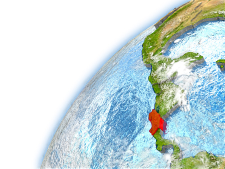 Costa Rica highlighted on model of planet Earth. 3D illustration with reflective waters and clouds in the atmosphere. Stock Photo