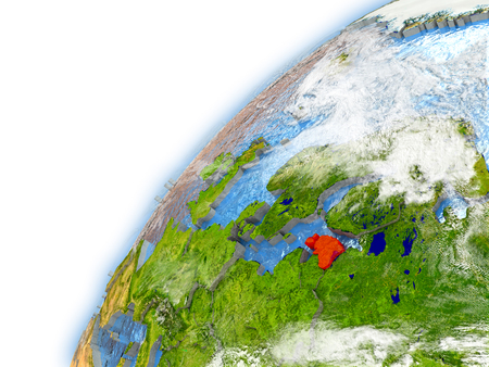Estonia highlighted on model of planet Earth. 3D illustration with reflective waters and clouds in the atmosphere.