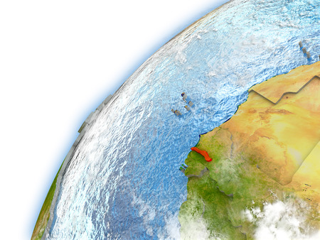 Gambia highlighted on model of planet Earth. 3D illustration with reflective waters and clouds in the atmosphere. Stock Photo