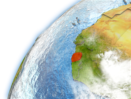 Sierra Leone highlighted on model of planet Earth. 3D illustration with reflective waters and clouds in the atmosphere.