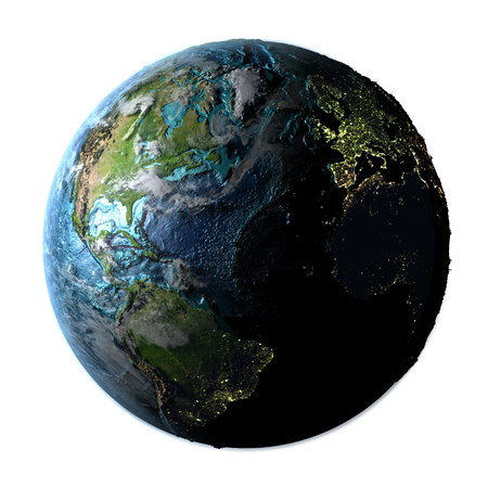 Northern Hemisphere on planet Earth with detailed plastic surface, atmosphere and city lights. 3D illustration. Stock Photo