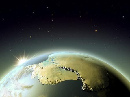 地球の軌道からの日の出と Antractic。詳細な惑星表面・大気・都市ライトと 3 D イラスト。