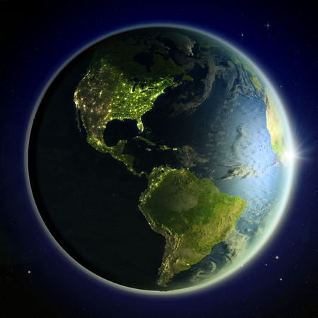 Americas from space with the sun peaking above the horizon. 3D illustration with detailed planet surface. Stock Photo