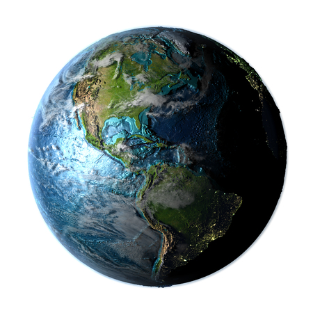 Americas on planet Earth with detailed plastic surface, atmosphere and city lights. 3D illustration.