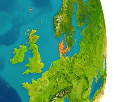 Denmark highlighted in red on planet Earth. 3D illustration with detailed planet surface.