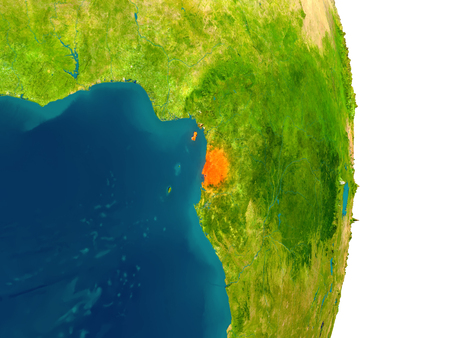 Equatorial Guinea highlighted in red on planet Earth. 3D illustration with detailed planet surface. Stock Photo
