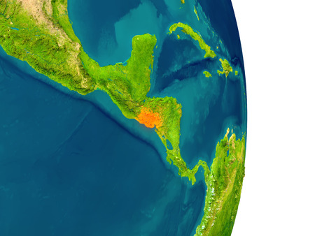 El Salvador highlighted in red on planet Earth. 3D illustration with detailed planet surface.
