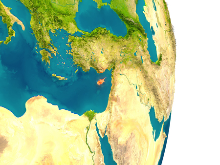 Cyprus highlighted in red on planet Earth. 3D illustration with detailed planet surface.
