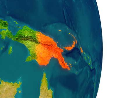 Papua New Guinea highlighted in red on planet Earth. 3D illustration with detailed planet surface.