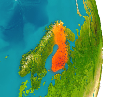 finnish: Finland highlighted in red on planet Earth. 3D illustration with detailed planet surface. Stock Photo