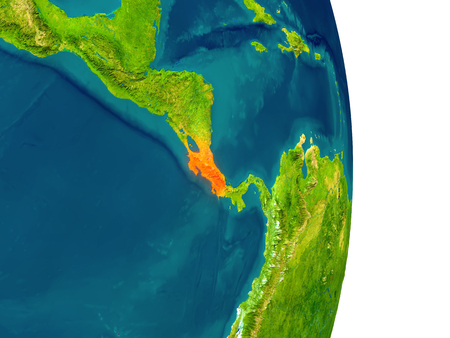 Costa Rica highlighted in red on planet Earth. 3D illustration with detailed planet surface.