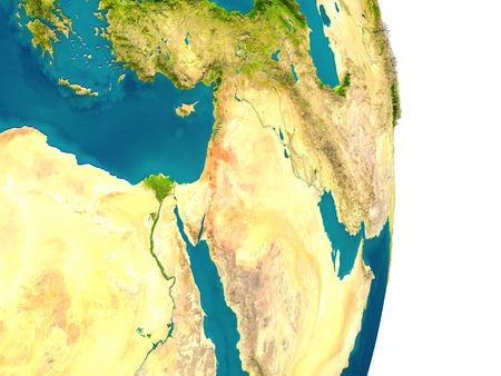 Jordan highlighted in red on planet Earth. 3D illustration with detailed planet surface.
