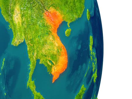 Vietnam highlighted in red on planet Earth. 3D illustration with detailed planet surface.