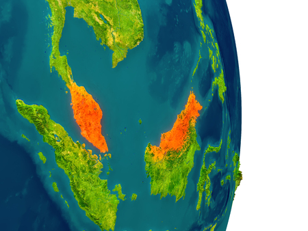 Malaysia highlighted in red on planet Earth. 3D illustration with detailed planet surface.