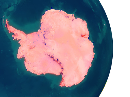 Antarctica highlighted in red on planet Earth. 3D illustration with detailed planet surface.