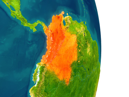 Colombia highlighted in red on planet Earth. 3D illustration with detailed planet surface.