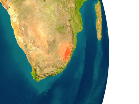 lesotho: Lesotho highlighted in red on planet Earth. 3D illustration with detailed planet surface.