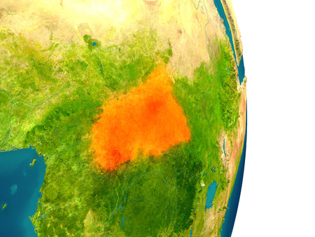 Central Africa highlighted in red on planet Earth. 3D illustration with detailed planet surface. Stock Photo