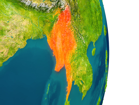 Myanmar highlighted in red on planet Earth. 3D illustration with detailed planet surface.