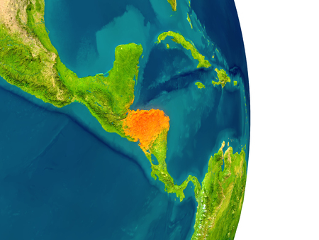 Honduras highlighted in red on planet Earth. 3D illustration with detailed planet surface.