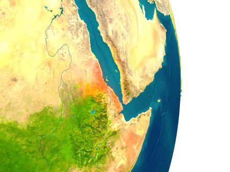 Eritrea highlighted in red on planet Earth. 3D illustration with detailed planet surface.